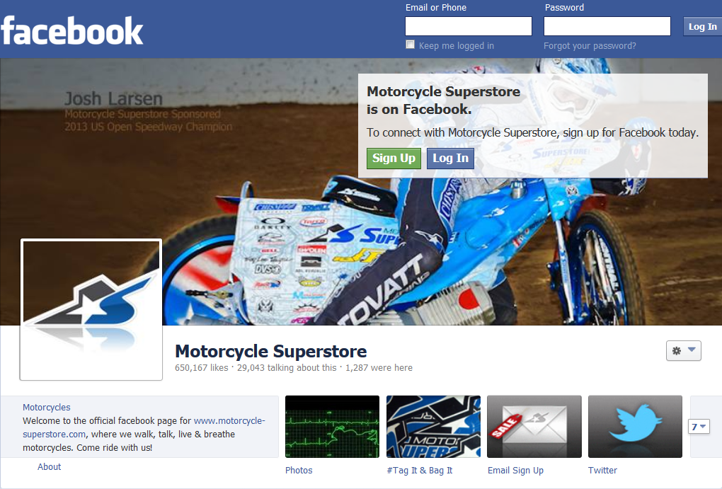 Motorcycle Superstore Facebook page