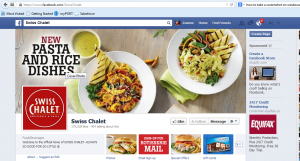 Swiss Chalet Facebook page example of customer engagement using social media