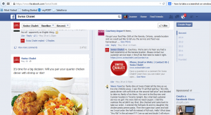 Swiss Chalet Facebook page example of using social media to respond to customer complaints
