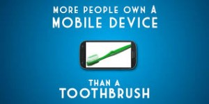 mobile device and toothbrush