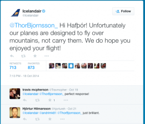 Icelandair witty response re mountains