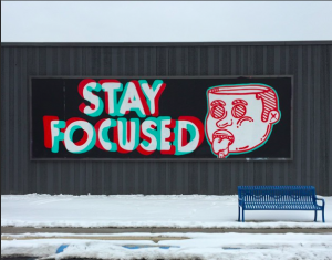 Stay Focused mural outside of the Threadless HQ