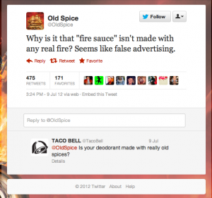 Old Spice and Taco Bell Twitter Conversation.