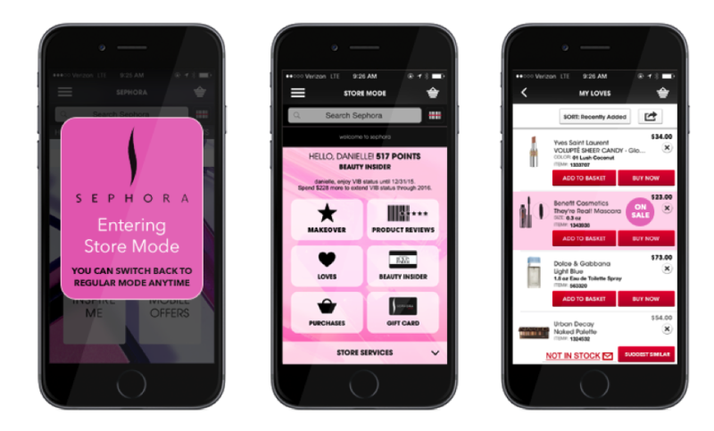 Sephora Mobile App - Store Mode