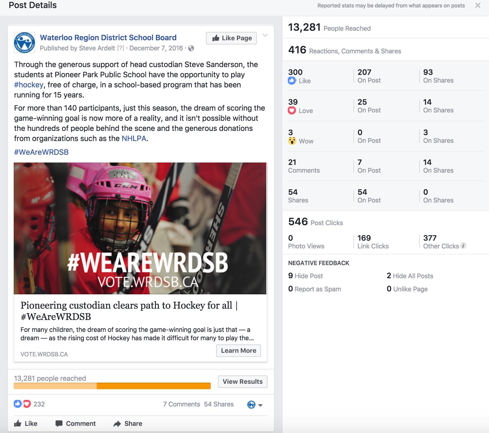 #WeAreWRDSB Facebook Data